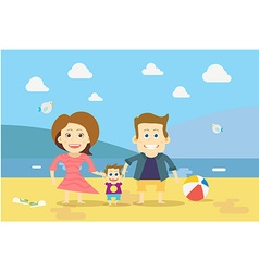 Flat design Family on the Beach vector image