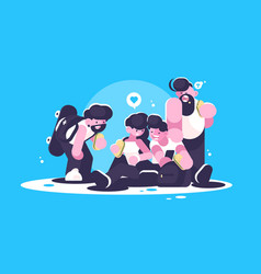 friends eating snack taking selfie on smartphone vector image