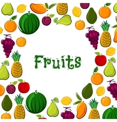 Fruit poster of exotic farm fresh fruits vector
