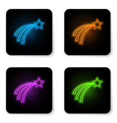 glowing neon falling star icon isolated on white vector image