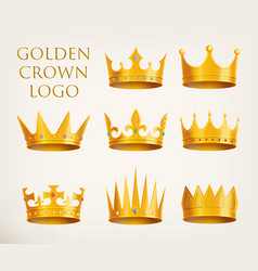 Golden crowns logo or royal headdress icon vector