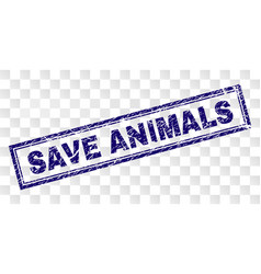 grunge save animals rectangle stamp vector image