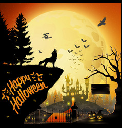 halloween night background with roaring wolf vector image