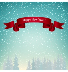 Happy new year landscape in turquoise shades vector