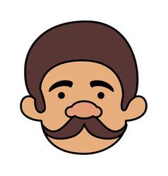 Head man with mustache of macho man vector