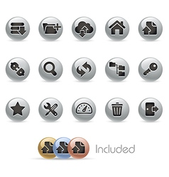 Hosting Icons MetalRound Series vector image