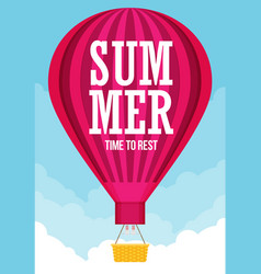 hot air balloon planning summer vacations tourism vector image