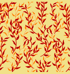 liana spreads red leaves creeper seamless pattern vector image