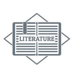 literature logo simple gray style vector image