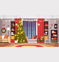 living room with decorated fir tree and garlands vector image