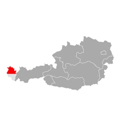 Map of Austria with flag of Vorarlberg vector image