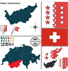 Map of Valais vector image