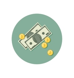 Money icon with dollars vector image