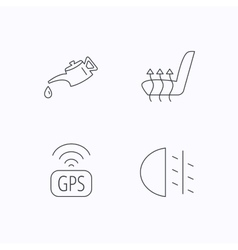 Motor oil passing fog lights and gps icons vector image