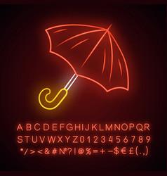 opened umbrella neon light icon bad rainy stormy vector image