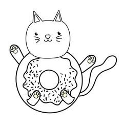 Outline kawaii happy cat donut style vector