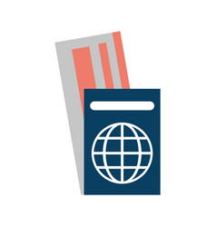 passport with tickets icon image vector image