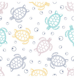 Pattern with sea turtles vector