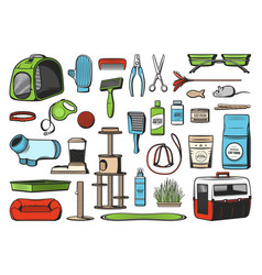 Pet care supplies for cats icons vector