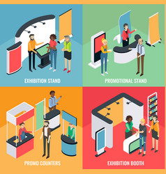 promotion equipment flat isometric poster vector image