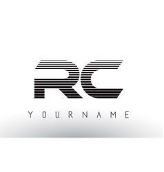 Rc black and white horizontal stripes letter logo vector