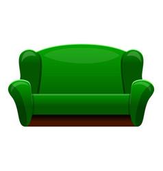 retro green sofa icon cartoon style vector image