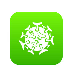 round viral bacteria icon digital green vector image