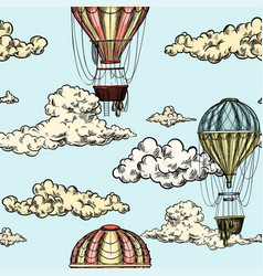 seamless pattern with antique air balloons in sky vector image