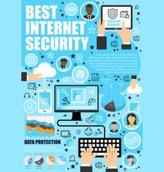 Secure online data internet security vector