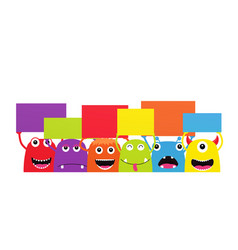 set funny cartoon monsters with dialogue vector image