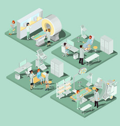 Set of 3d flat isometric of medical vector