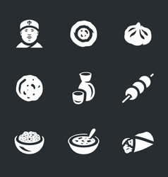 set of asian food icons vector image