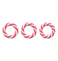 set of candy cane circle frames swirl hard candy vector image