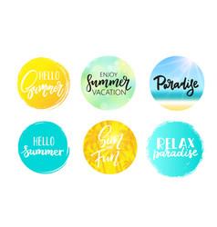 Set of colorful summer circles signs badges vector