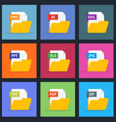 set of documents in an open folder icons for vector image