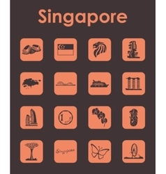 Set of Singapore simple icons vector