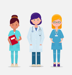 Set of three female doctor and nurses vector