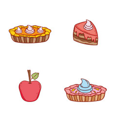 Set weet cakes with cream and apple vector