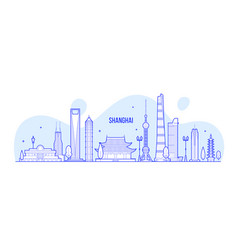 shanghai skyline china buildings linear art vector image