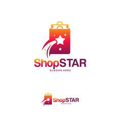 Shop star logo designs concept elite shopping vector
