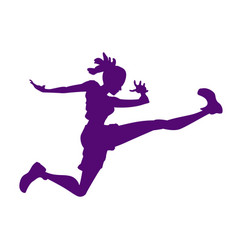 silhouette of a woman in a jump triathlon vector image