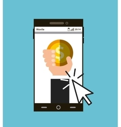 Smartphone and gold coin vector