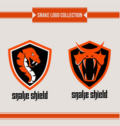 snake shield logo vector image