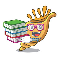 student with book exotic shell mascot cartoon vector image
