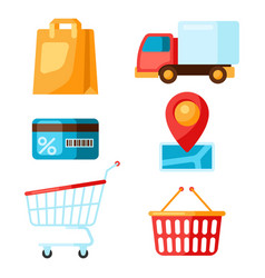 Supermarket selfservice and delivery icons vector