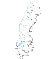 Sweden Black White Map vector
