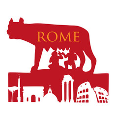 Symbol rome capitoline wolf with roman vector