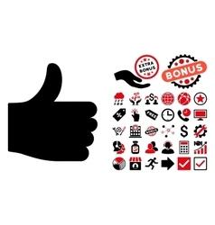Thumb Up Flat Icon with Bonus vector