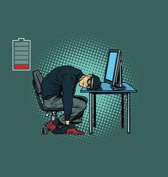 Tired hacker is asleep vector