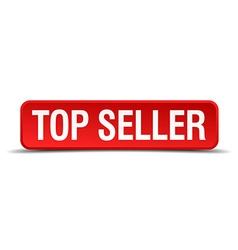 Top seller red 3d square button isolated on white vector